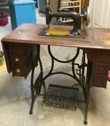 Antique New Home Treadle Sewing Machine Table Cabinet Cast Iron And Wood