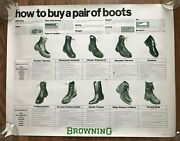 Vintage Nos Browning Arms Co. Gun Hunting Boots Store Display Advertising Poster