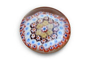 Antique C.1900 Multi-color Floral Glass Paperweight, Yellow, Orange, Blue,