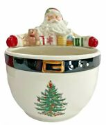 Spode Christmas Tree Santa Nut Candy Bowl New In Box 9 Inches Tall