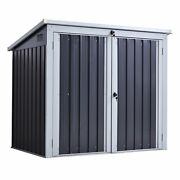 Trash Bin Storage Shed Double Outdoor Waste Litter Container Lean-to Steel Black