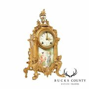 New Haven Clock Co. American Porcelain And Gilt Mantel Clock