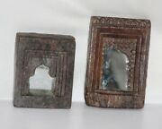 Old Wooden Wall Hanging Frame With Mirror Antique Hand Carved Collectible 12081