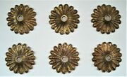 6 Vintage Brass Bronze Chandelier Light Bobeches... Electric Candle Bases Covers