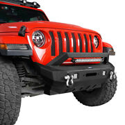 Stubby Front Bumper W/ Winch Plate And Led Light Bar For Jeep Wrangler Jl/jt 18-21