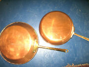 2 Vintage Cookware Copper Saute/fry Pans 8 1/4 And 101/4