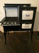 Antique Quality Gas Stove - Roberts And Mander Black With White Porcelain 1920s