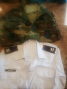 Us Airforce Camo Jacket And Dress Shirt With Full Badges