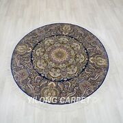 5and039x5and039 Handknotted Silk Round Carpet Home Decor Oriental Luxury Rug Tj168a