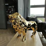 Geometric Lion Resin Ornaments Crafts Animal Sculpture Home Dandeacutecor Gold And Silver