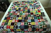 Flaws Vintage 70s Handmade Knit Polyester Quilt Crazy Ugly Hippy 84 X 64 Country