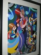Roni Stretch Dancing At The Roxy 1997 Framed Serigraph 39 X 48 Excellent