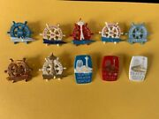 Lot Of 10 1960and039s Seattle Seafair Hydroplane Skipper Pins Button Hydro Race