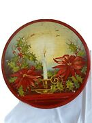 Vtg Antique Art Deco Tin Container Candle Holder Flame Poinsettia Red Round