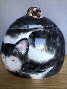 Rare Sleeping Black White Cat W/ Mouse On Top Cookie Jar Container - Cute
