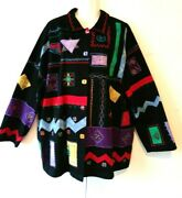 Women's Liz And Me Black With Abstract Southwestern Design Jacket Plus Size 3x