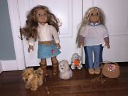 American Girl 2 Dolls - Julie And Purse, Nicki And 3 Dogs - Used, Great Condition