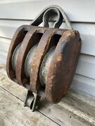 Large Antique Wood Union Hardware Block And Tackle Triple 3 Wheel Pulley Maritime