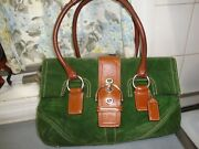 Lovely Coach Green Suede Brown Leather Combo Satchel F10921