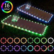 Zezur Led Cornhole Board Lights For Edge And Hole Ring Remote Control 16 Color