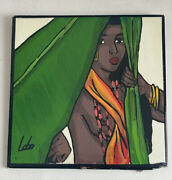 """Vintage Ceramic Dominican Exotic Folk Art By Lobo Hand Painted Tile Signed 6"""""""