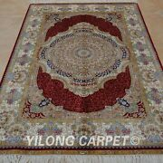 4and039x6and039 Handknotted Silk Rug Indoor Furniture Home Interior Carpet 0103