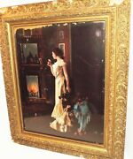 19th Antique Victorian Era Museum Carved Wood Gold Flower Gesso Painting Frame