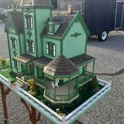 Large Victorian Doll House. Hand Crafted Cape May Style Electrified Furniture