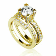 Round 2 Ct And Side Stones Certified Diamond 18k Yellow Gold Engagement Ring Set