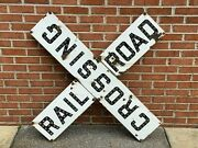 Vtg Antique Railroad Railway Crossing Xing Porcelain Glass Cats Eye Marble Sign