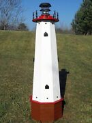Well Pump Cover Wooden Lighthouse With Solar Light - 4 Ft Tall - Red Accents