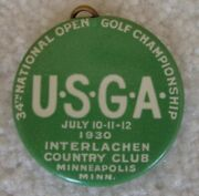 1930 Us Open Golf Tournament Pin Badge Button With Replica Ticket Included