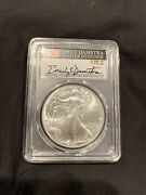 2021 Silver Eagle Pcgs Ms70 Flag Emily Damstra Hand Signed First Strike Type 2