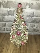 Frosted Bottle Brush Christmas Tree 8.5 Vintage Mercury Glass Ornaments Pink