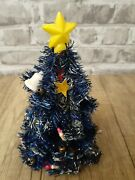 Vintage Tiny 5 Tall Blue Christmas Tree W/paper Candles, Star Topper, Bell