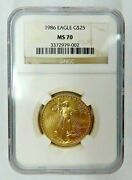 1986 25 Gold Eagle First Year 1/2 Oz Gold Coin Ngc Graded Ms70