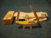Rare Buck 309 Folding Knife - Yellow Handles - Discontinued And Collectible