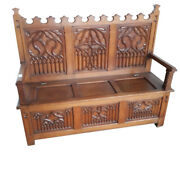 French Gothic Bench Oak 1920and039s Antique Medieval Elements 11562