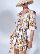 Alexie Pasina Floral-print Belted Dress In Lilac Floral Multi Colored Dress Sz M