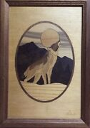 Hudson River Inlay Howling Wolf 73 Marquetry Art Signed Nelson
