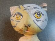 Vintage Hand Made Puppet Painted Paper Mache Tiger Cat Old