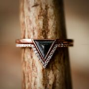 Salt And Pepper Band Wedding Ring 14k Rose Gold Natural Diamond Jewelry