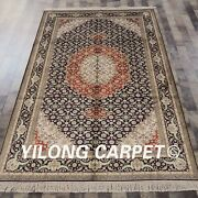 5and039x8and039 Handmade Silk Rug Home Decor Antistatic Oriental Floral Carpet 456b