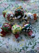 Mackenzie-childs Ornaments Set 6 Double Tear Drop Glass Courtly Check Ribbon