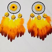 Sunflower Dream Catcher Handmade Feathers Car Home Wall Hanging Ornaments Crafts