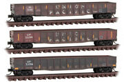 Micro-trains Mtl N-scale Union Pacific/up 50ft Gondolas Weathered 3-pack