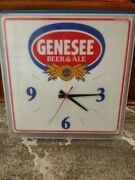 Vintage Genesee Lighted Beer Clock In Excellent Working Condition