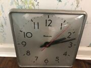 Vintage Simplex Wall Clock Industrial School Garage Square Convex Glass Tested