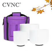 440hz 3 Pcs 6b+8g+10e Frosted Chakra Crystal Singing Bowl Set With Carry Bag