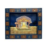 Kurt Adler 16.75 Inch Wooden Nativity Advent Calendar With 24 Magnetic Pieces